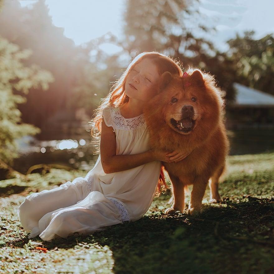 Girl Dog Sunshine Square
