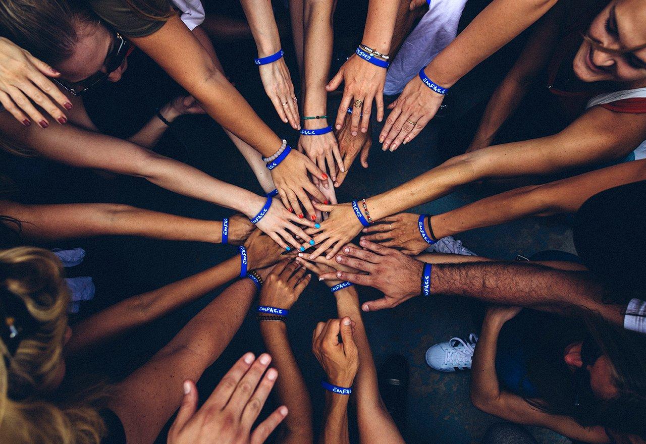 Hands Huddle Together Team